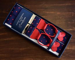 bretelles bleu pois rouge albert thurston