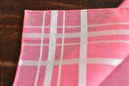 mouchoir rouge saumon lignes blanches