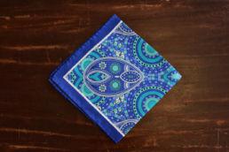 Pochette bleue en soie retro turquoise-1