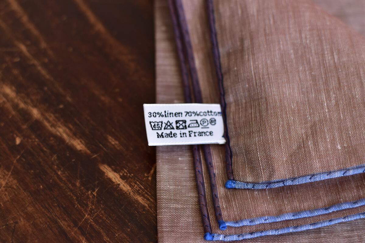 pochette en coton et lin marron