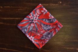 Pochette de soie imprime hawaien rouge-1