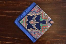 pochette en soie bleu multicolore