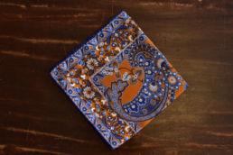 Pochette en soie orange bleu floral vintage-1