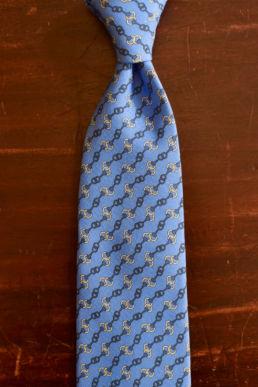 Cravate bleu ciel imprimé chainettes Calabrese