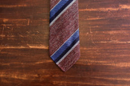 Cravate club non doublée rouge pale et rayures-4
