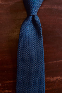 Cravate grenadine de soie bleu canard