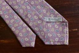 Cravate rose pale imprimé cachemire Calabrese