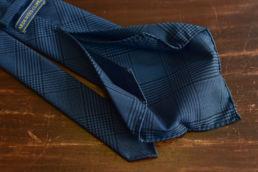 cravate 6 plis laine bleu prince de galles-1