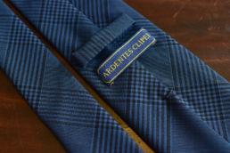 cravate 6 plis laine bleu prince de galles-3