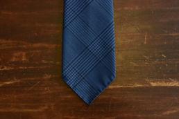 cravate 6 plis laine bleu prince de galles