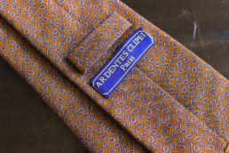cravate en coton orange et petits motifs-0