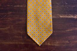 cravate jaune non doublee a motifs-0