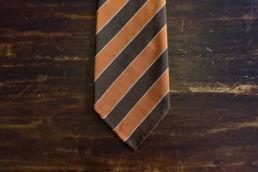 cravate rayee orange et marron-0