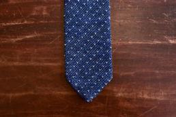 cravate tricot bleu chambray à pois
