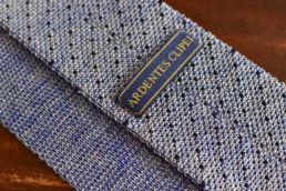 Cravate tricot bleu chine à pois