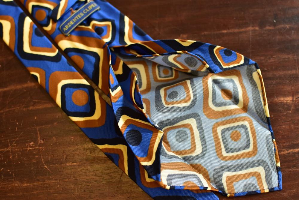 cravate 5 plis soie carres vintage bleu orange