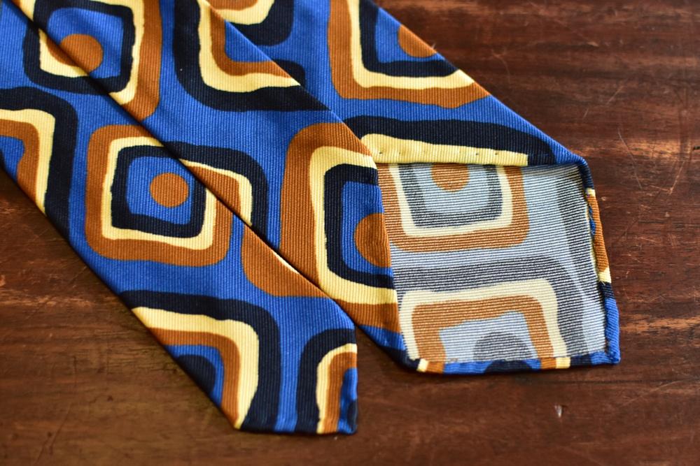 cravate 5 plis soie carres vintage bleu orange-4