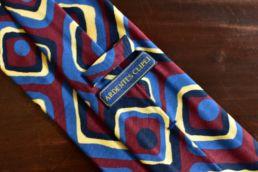 cravate 5 plis soie carres vintage rouge bleu