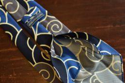 cravate 5 plis soie imprimé japonais bleu