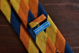 cravate club soie et laine orange bleu