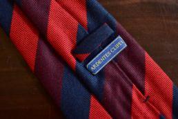 cravate club soie et laine rouge bleu