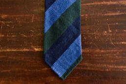 cravate club soie et laine vert bleu