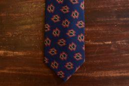 cravate twill de soie et laine bleu imprimé losange