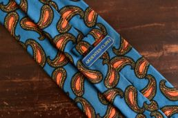 cravate twill de soie et laine bleu paisley orange