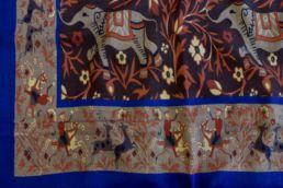 echarpe laine de yack elephant orange bleu marron-1