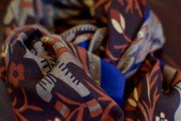 echarpe laine de yack elephant orange bleu marron-3