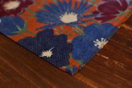 echarpe laine de yack motif floral bleu orange-2
