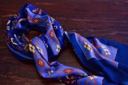 echarpe laine de yak fresque chasse bleu-4