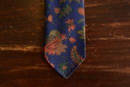 Cravate bleu imprimé floral - Calabrese
