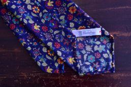 Cravate bleu marine imprimé floral - Calabrese