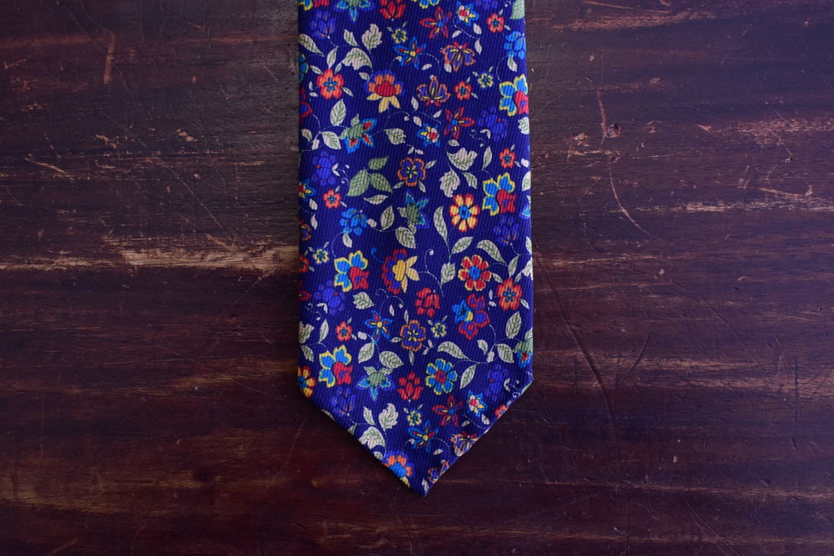 Cravate bleu marine imprimé floral - Calabrese4
