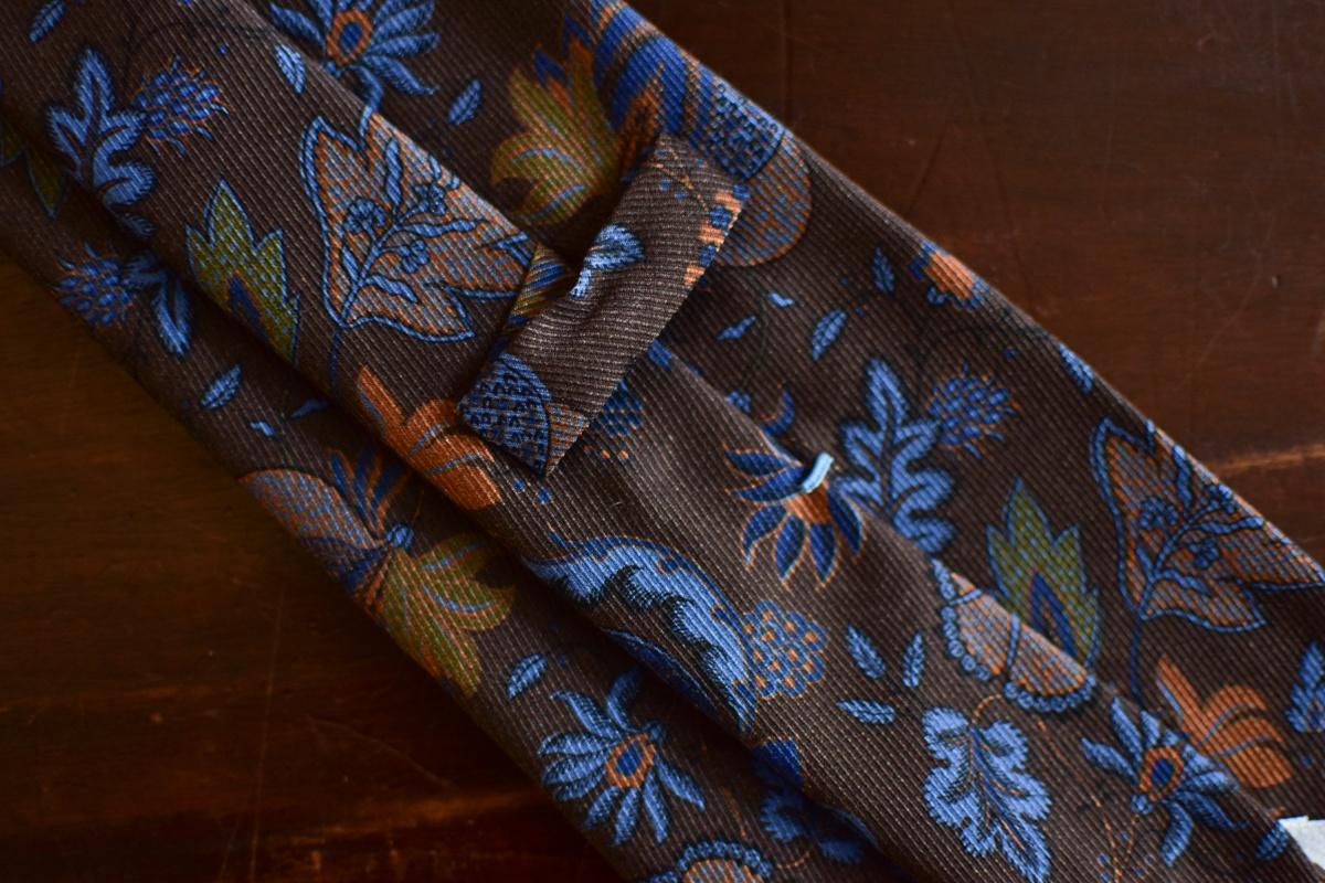 Cravate marron imprimé floral - Calabrese