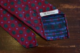 Cravate rouge jacquard floral - Calabrese